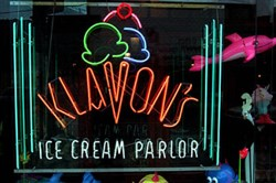 The colorful window at Klavon's in 1999.