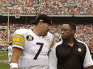 Mike Tomlin, right, walks off the field with Ben Roethlisberger after winning his first NFL game — 34-7 vs. the Browns in Cleveland at what was then Cleveland Browns Stadium