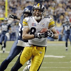 Hines Ward Hines Ward flashes his trademark smile while scoring a touchdown for the Steelers in Super Bowl XL. The score clinched the championship for the Steelers and the game MVP award for Ward.
