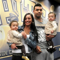 Rushel Shell and family Pitt running back Rushel Shell with Marissa Pursley and their twin daughters Amiyah, left, and Arionna at the Pitt practice facility.
