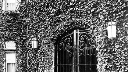 1949 gate In 1949, ivy framed the wrought iron gates at the main entrance of the red brick mansion owned by David McCahill, who donated it that year to the Roman Catholic Diocese of Pittsburgh for use as a bishop's residence.