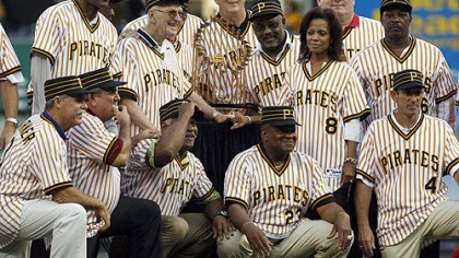 1979 world championship Pirates Members of the 1979 world championship Pirates together with the World Series trophy before Saturday night's game. From left to right, top row, Omar Moreno, Bruce Kison, partially blocked by Chuck Tanner, Kent Tekulve, Bill Madlock, wife of the late slugger Willie Stargell, Margaret Stargell, Don Robinson, and Rennie Stennett,, Bottom row right to left are Dale Berra , Mike Easler, Grant Jackson, Steve Nicosia and Phil Garner.