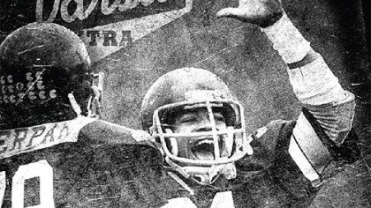 1982 Steel Valley football Bill Cherpak and Duane Dutrieuille celebrate during Steel Valley's magical ride in 1982.