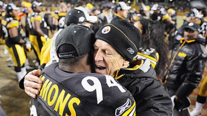 50th NFL season Dick LeBeau celebrates the AFC title at Heinz Field last month with one of his linebackers, Lawrence Timmons. LeBeau just completed his 50th season in the NFL.