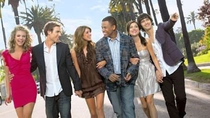 "90210 Cast of ""90210"": AnnaLynne McCord, Dustin Milligan, Shenae Grimes, Tristan Wilds, Jessica Stroup, Michael Steger."
