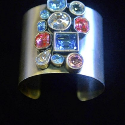 A 1980s silver metal cuff A 1980s silver metal cuff bracelet with rhinestones from Eons.