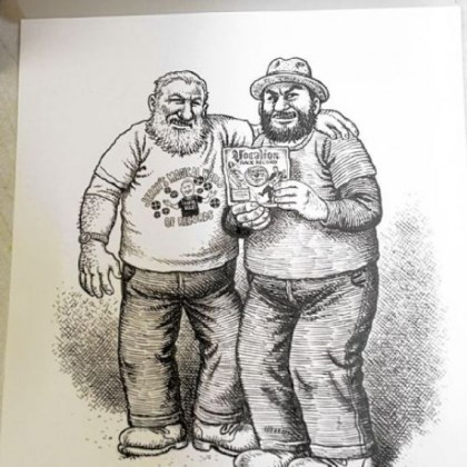 A detail of a drawing by Robert Crumb A detail of a drawing by Robert Crumb. Jerry Weber, left, and his son, Willie, of Jerry's Records in Squirrel Hill traded a rare country blues LP to the reclusive underground cartoonist Robert Crumb in exchange for an illustration of the pair.