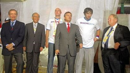 A party From left, IOC Coordination Commission Chairman for the Sochi winter 2014 Olympics Jean-Claude Killy, Chiharu Igaya of the IOC Evaluation Commission for the Sochi winter games, CEO of the Sochi games Dmitry Chernyshenko, IIHF President Rene Fasel , professional hockey player Alexander Ovechkin, and Russian IOC member Vitaly Smirnov, are seen during a party at the Russia House in Beijing to promote the 2014 Winter Games in Sochi, Russia.