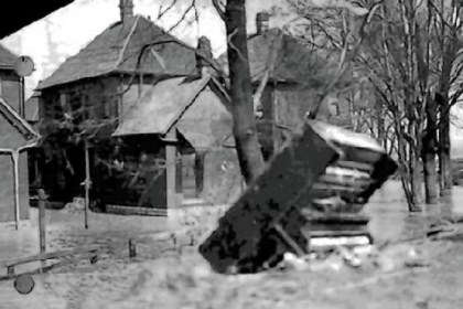 A piano is washed away A piano is washed away by the 1913 flood in Dayton, Ohio.