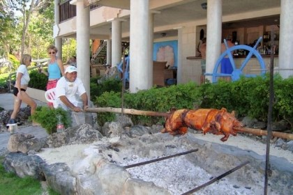 A roast pig A roast pig is prepared for lunch on the beach at Paradisus Rio de Oro Resort and Spa in Cuba.