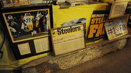 A steel beam Photos, plaques and a steel beam from Three Rivers Stadium. Dennis wrote notes on the beam while watching games at Three Rivers.