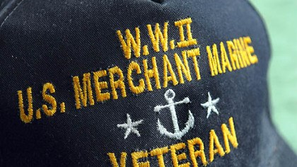 A tip of the cap Gerard Driscoll always wears his Merchant Marine cap when he leaves home. He served in the Merchant Marine during World War II.
