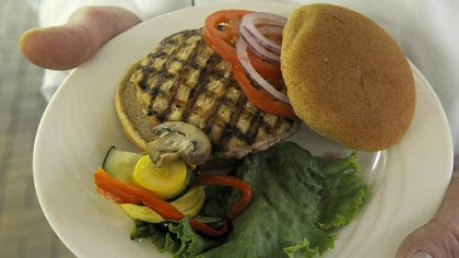 A turkey burger A turkey burger is at Steeler Training Camp in Latrobe.
