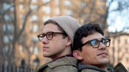 "Aaron Tveit and James Franco Aaron Tveit, left, and James Franco portray longtime partners Peter Orlovsky and Allen Ginsberg in ""Howl."""