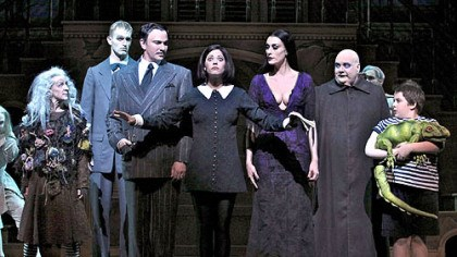 "Addams Family Pippa Pearthree (Grandma), Tom Corbeil (Lurch), Douglas Sills (Gomez), Cortney Wolfson (Wednesday), Sara Gettelfinger (Morticia), Blake Hammond (Uncle Fester) and Patrick D. Kennedy (Puglsey) in ""The Addams Family."""