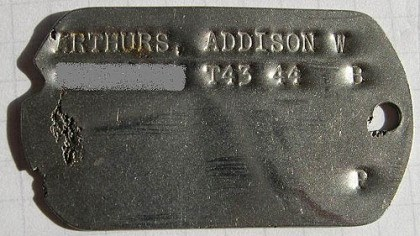 Addison Arthurs' dog tag Addison Arthurs' dog tag.