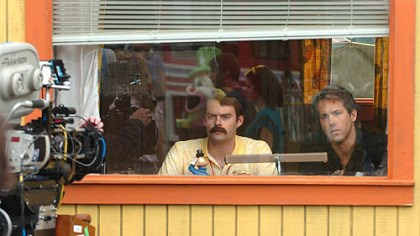 """Adventureland"" 2 Bill Hader, left, and Ryan Reynolds film a scene of ""Adventureland"" at Kennywood Park on Thursday."