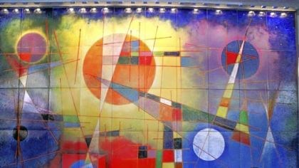 """Aerial Scape"" This Virgil Cantini enamel-on-steel mural ""Aerial Scape"" may be removed from the lobby of One Oliver Plaza."