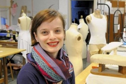 "Albulena Borovci Carnegie Mellon University graduate student Albulena Borovci, in the costume shop in Purnell Center for the Arts, has received national recognition for her costume designs for ""The Rivals."""