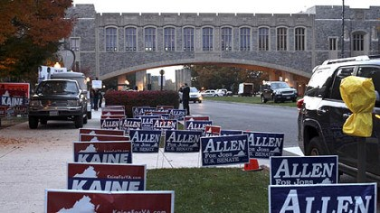 allen and kaine Signage in support of U.S. Senate candidates Tim Kaine and George Allen outside of Squires Student Center, on the Virginia Tech campus in Blacksburg, Va.