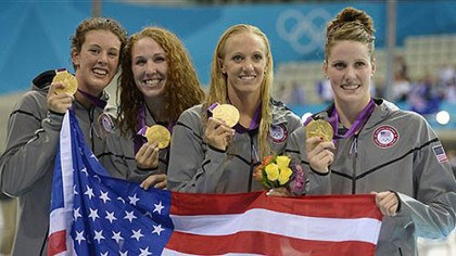 Allison Schmitt's second gold medal From right, United States' Missy Franklin, Dana Vollmer, Shannon Vreeland and Pittsburgh-born Allison Schmitt pose with their gold medals for the women's 4x200-meter freestyle relay swimming final at the 2012 Summer Olympics in London, Wednesday, Aug. 1, 2012.