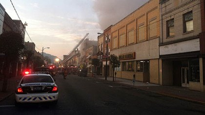 Ambridge The fire early this morning along Merchant Street in Ambridge forced residents to flee though heavy smoke.