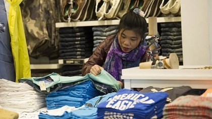 American Eagle Outfitters Inc. store in San Francisco A customer shops for shirts at an American Eagle Outfitters Inc. store in San Francisco. The teen apparel retailer saw its stock price increase by 43.4 percent in 2012.