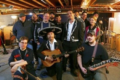 'Amigos Live!' Members of the Amigos Live! band, Guaracha and Miguel's Mariachi Fiesta gathered at Orion Czarnecki's Studio O in Beaver Falls for rehearsal. Mr. Czarnecki is in the third row, center.