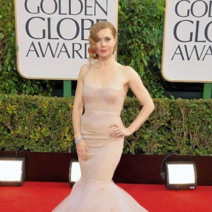 Amy Adams on red carpet Amy Adams' strapless mermaid gown was from Marchesa.