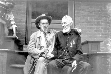 An unidentified Confederate and Union soldier An unidentified Confederate and Union soldier share memories at the 50th anniversary reunion at Gettysburg, Pa., in 1913.