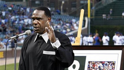 Andre Dawson Hall of Famer Andre Dawson thanks the Chicago fans as he is honored by the Chicago Cubs before a baseball game against the Pittsburgh Pirates Monday, Aug. 30, 2010 at Wrigley Field in Chicago. (AP Photo/Charles Rex Arbogast)