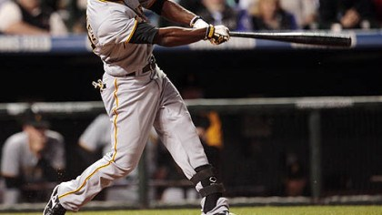 Andrew McCutchen Andrew McCutchen follows through with his swing after connecting for a triple to drive in three runs against the Colorado Rockies in the seventh inning of last night's baseball game in Denver.
