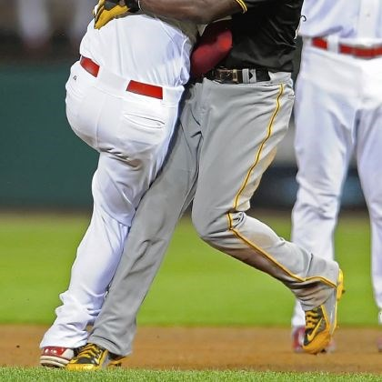 Andrew McCutchen collides with Daniel Descalso Andrew McCutchen collides with Daniel Descalso after being called out on a double play at second base in the third inning against the Cardinals Friday in St. Louis.