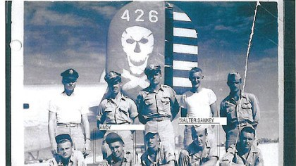 Andrew Rausch Andrew Rausch (front row, second from left) with his B-24 crew mates, including Carrick's Walter Sankey (front, second from right). The crew perished in a crash in the Philippines on Jan. 10, 1945.