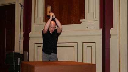 Andrew Reamer Orchestra percussionist Andrew Reamer performing a special instrument called a hammer box? He is swinging a wooden mallet in this photo from June 8 at a rehearsal in Heinz Hall. Mahler invented this percussion instrument for the finale of his Symphony No. 6, which the PSO performed June 15-17.