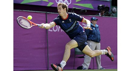 Andy Murray Andy Murray of Great Britain returns to Roger Federer of Switzerland during the gold medal men's singles match.