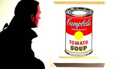 "Andy Warhol soup cans The origin of the idea for Andy Warhol's soup cans, like the ""Campbell's Soup Can (Tomato),"" has long been the subject of debate."