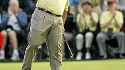 Angel Cabrera Angel Cabrera celebrates after winning the Masters in a sudden-death playoff yesterday at Augusta National Golf Club in Augusta, Ga.