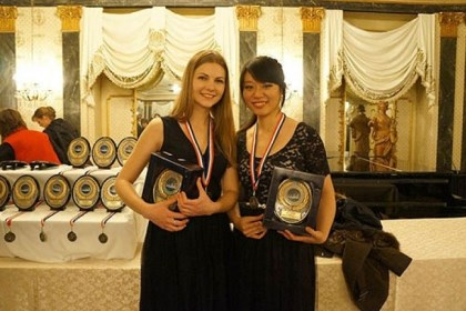 Anna Kovalevska, left, and Yuting Zhou Mary Pappert School of Music students Anna Kovalevska, left, and Yuting Zhou won first place at last month's 15th annual United States International Duo Piano Competition in Colorado Springs.