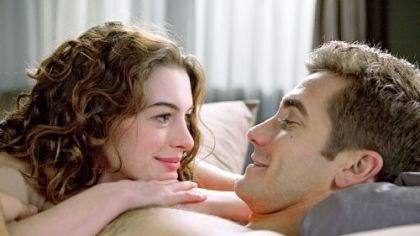 "Anne Hathaway and Jake Gyllenhaal In the movie ""Love and Other Drugs,"" made in Pittsburgh and scheduled for a Nov. 24 release, Anne Hathaway plays a young woman who has young-onset Parkinson's disease. Jake Gyllenhaal plays her boyfriend, who must decide whether he cares enough for her to stand beside her."