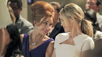 "Annie Potts and Leslie Bibb Leslie Bibb, right, portrays a woman who moves back to her Texas town and must deal with her mother, played by Annie Potts, as well as the girls she tormented in high school in ""GCB."""