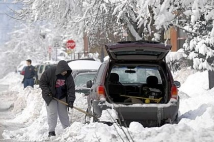 "Anniversary Three years ago today, snow began falling in the record-breaking blizzard of Feb. 5 and 6, 2010. During ""Snowmageddon,"" Rick Lewis shoveled out his car in the 1100 block of West North Avenue in the city's Manchester neighborhood."