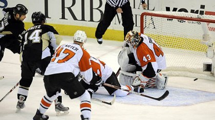 Another look Bill Guerin scores the winning goal against the Flyers in overtime.