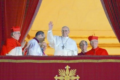 Argentina's Cardinal Jorge Bergoglio Argentina's Cardinal Jorge Bergoglio, who took the name Pope Francis, waves Wednesday from the papal balcony of St. Peter's Basilica at the Vatican after being elected the Roman Catholic Church's 266th pope.