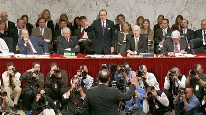 Arlen Specter swears in Alito On Jan. 9, 2006, Mr. Specter, chairman of the Senate Judiciary Committee, swears in Supreme Court nominee Samuel Alito, back to camera, during his confirmation hearing.