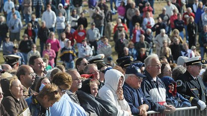 Attending the services Onlookers attend today's services at the Flight 93 National Memorial ceremony in Shanksville.