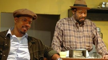 "Aunt Ester Jonathan Berry, left, plays Sterling and Anthony Chisholm portrays Memphis Lee in Pittsburgh Playwrights Theatre's ""Two Trains Running."""