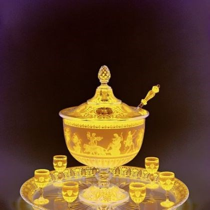 Baccarat punch bowl Baccarat exhibited this lidded punch bowl with goblets, tray and ladle, made around 1867, at the Paris world's fair that year. Made in the neo-Grecian style, the scene on the bowl was made with acid etching.