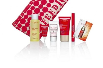 Bag of beauty Macy's shoppers will receive a bag of beauty treats and buy 10 healthy school meals for children throughout the world with the purchase of two Clarins products (one must be for skincare) as part of an offer from Clarins and the Lauren Bush FEED program.