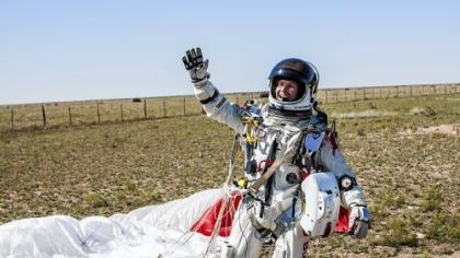 Baumgartner waves Mr. Baumgartner?s pressurized suit could help influence future spacesuit design.